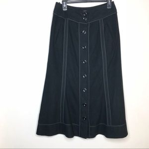 Anthro Elevenses Suede Skirt Black 8